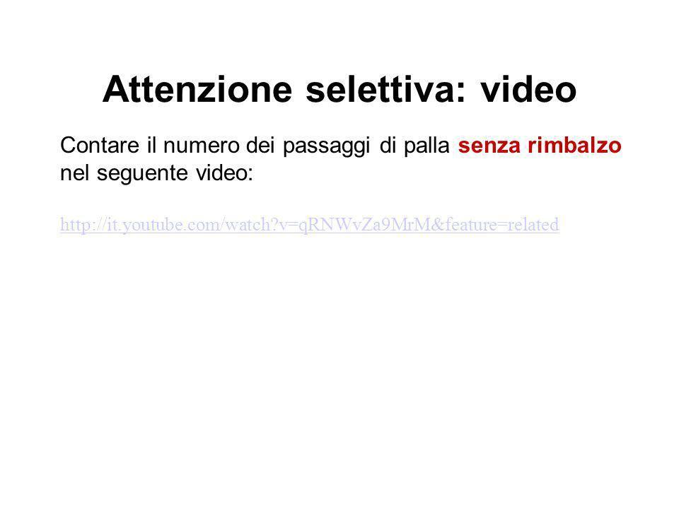 Attenzione selettiva: video Contare il numero dei passaggi di palla senza rimbalzo nel seguente video: http://it.youtube.com/watch?v=qRNWvZa9MrM&featu