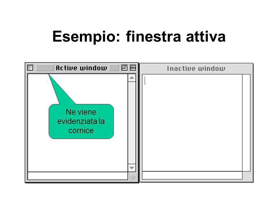 Esempio: finestra attiva Ne viene evidenziata la cornice
