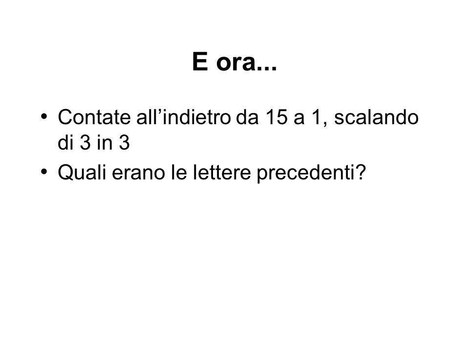 E ora... Contate allindietro da 15 a 1, scalando di 3 in 3 Quali erano le lettere precedenti?