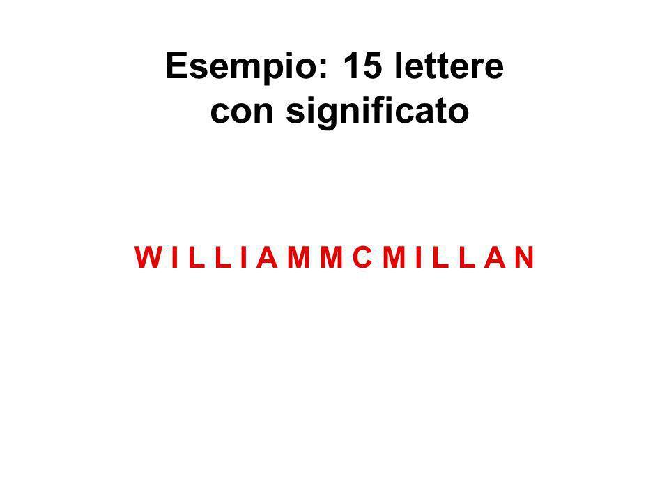 Esempio: 15 lettere con significato W I L L I A M M C M I L L A N