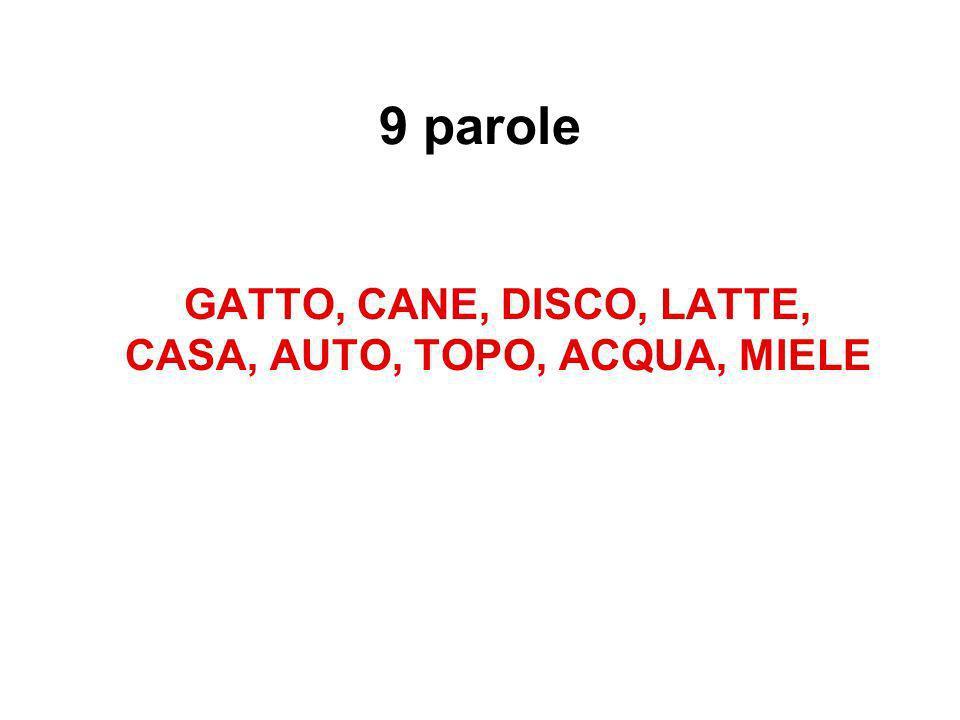9 parole GATTO, CANE, DISCO, LATTE, CASA, AUTO, TOPO, ACQUA, MIELE