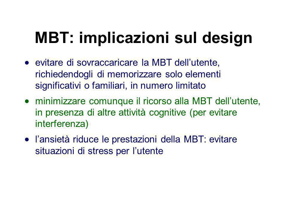 MBT: implicazioni sul design evitare di sovraccaricare la MBT dellutente, richiedendogli di memorizzare solo elementi significativi o familiari, in nu