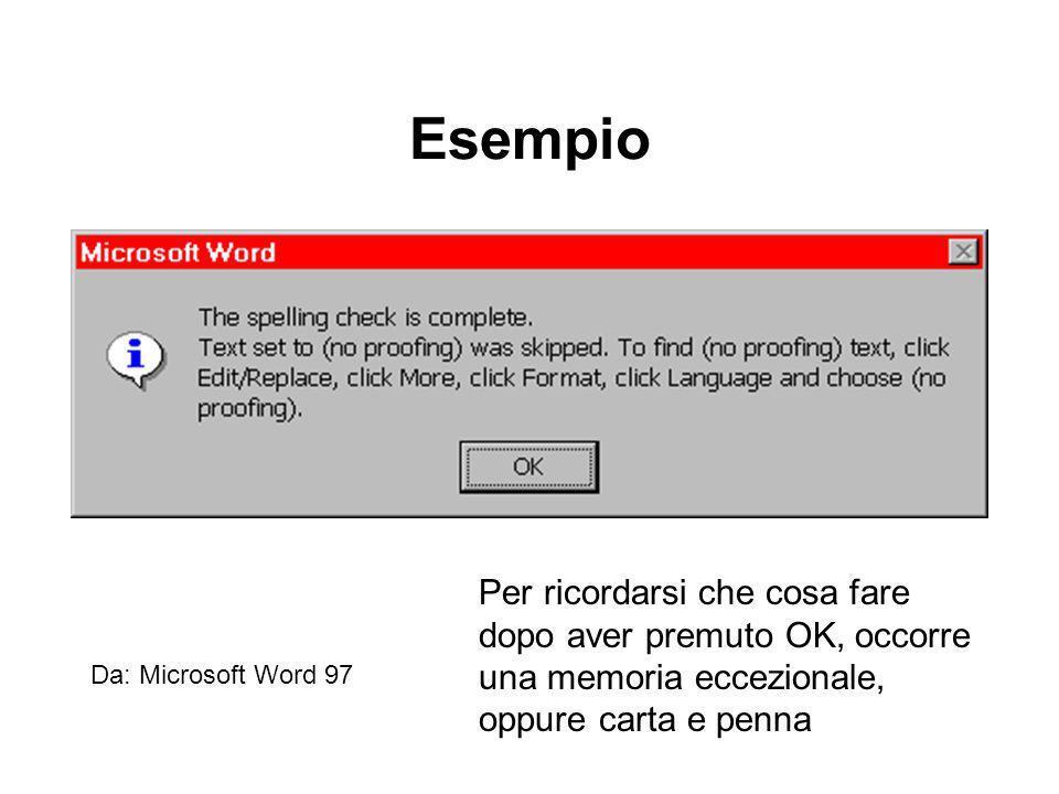 Esempio Da: Microsoft Word 97 Per ricordarsi che cosa fare dopo aver premuto OK, occorre una memoria eccezionale, oppure carta e penna