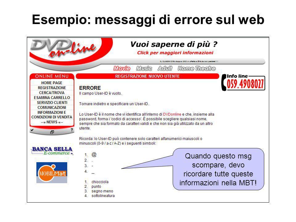 Esempio: messaggi di errore sul web Quando questo msg scompare, devo ricordare tutte queste informazioni nella MBT!