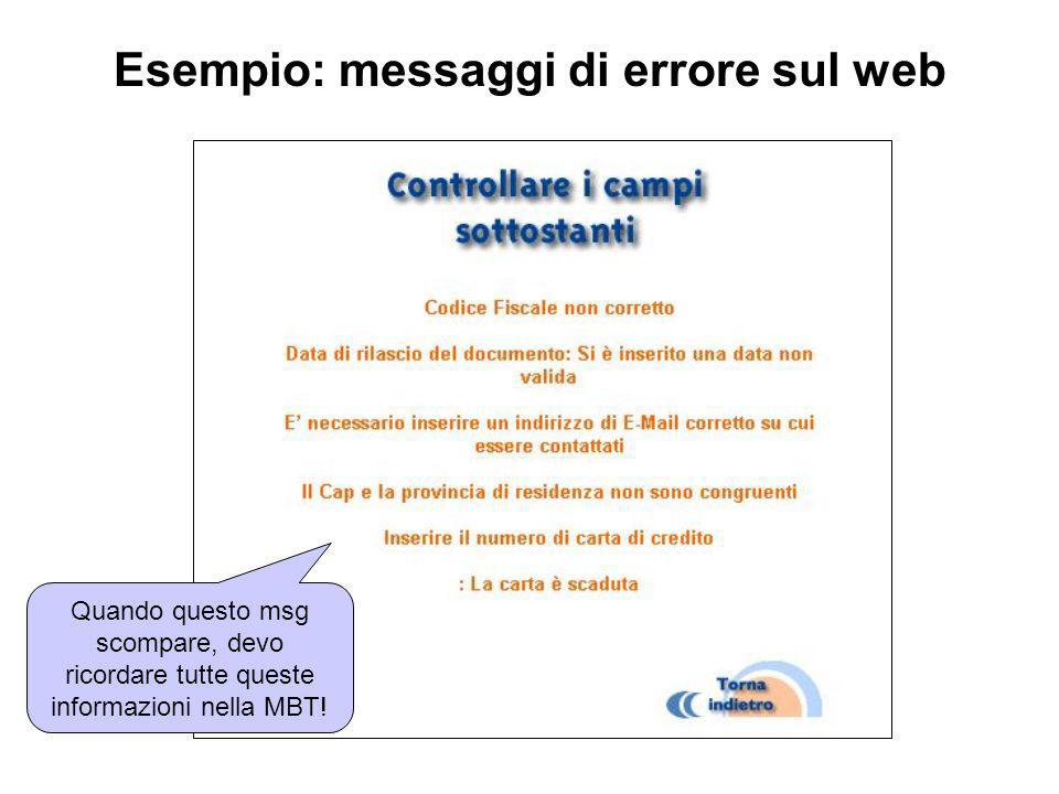 Esempio: messaggi di errore sul web