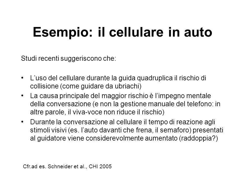 Esempio: il cellulare in auto Studi recenti suggeriscono che: Luso del cellulare durante la guida quadruplica il rischio di collisione (come guidare d