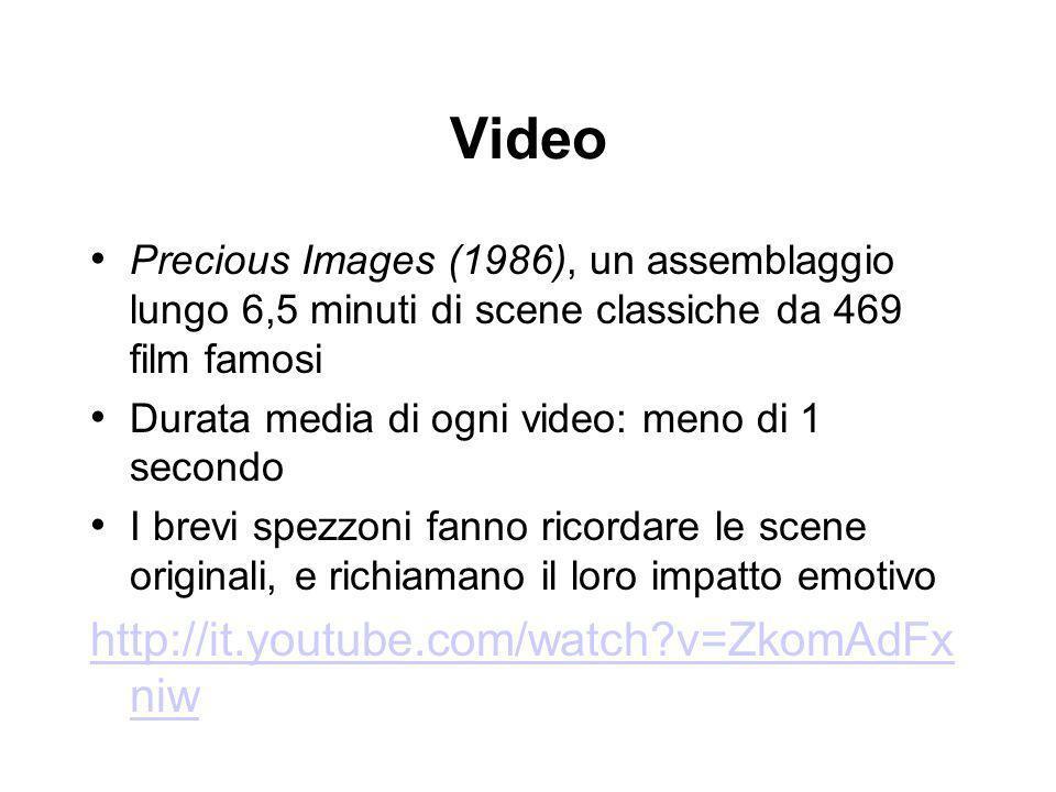 Video Precious Images (1986), un assemblaggio lungo 6,5 minuti di scene classiche da 469 film famosi Durata media di ogni video: meno di 1 secondo I b