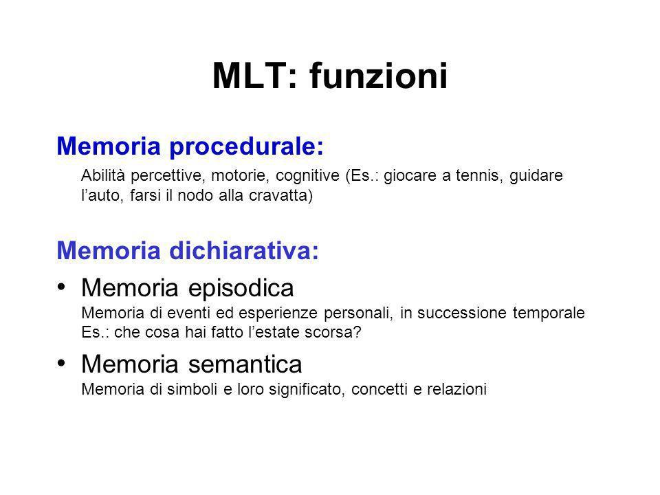 MLT: funzioni Memoria procedurale: Abilità percettive, motorie, cognitive (Es.: giocare a tennis, guidare lauto, farsi il nodo alla cravatta) Memoria