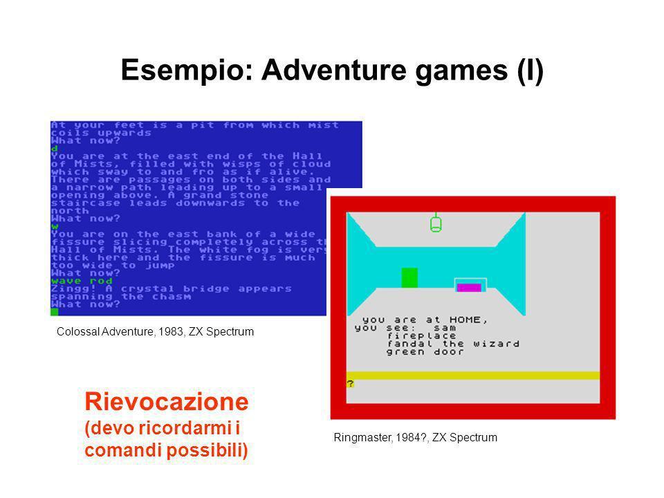 Esempio: Adventure games (I) Colossal Adventure, 1983, ZX Spectrum Ringmaster, 1984?, ZX Spectrum Rievocazione (devo ricordarmi i comandi possibili)