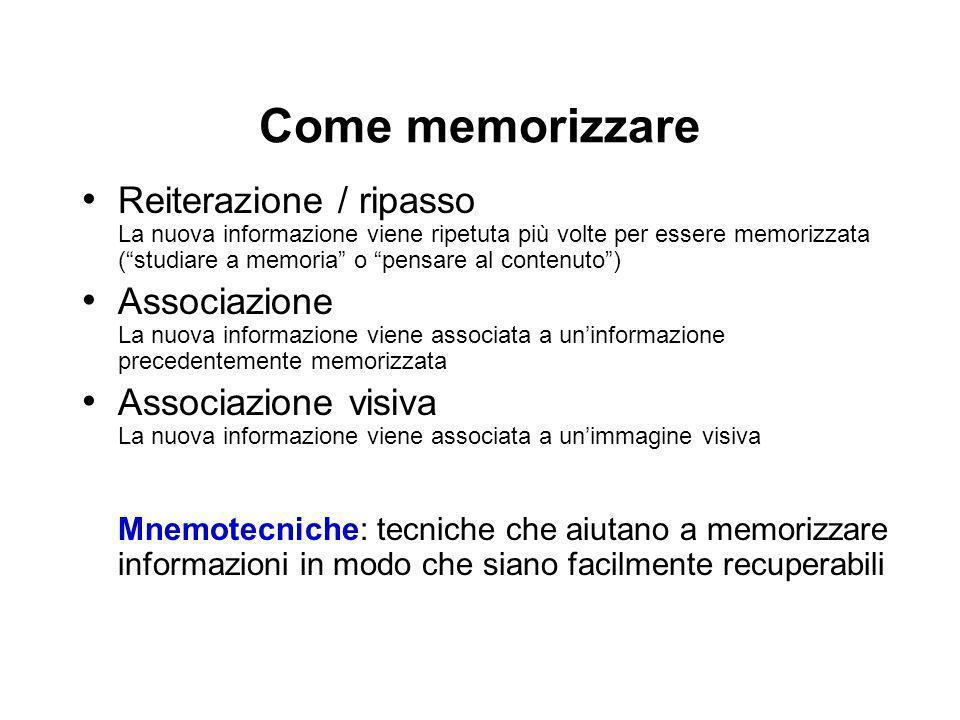Come memorizzare Reiterazione / ripasso La nuova informazione viene ripetuta più volte per essere memorizzata (studiare a memoria o pensare al contenu