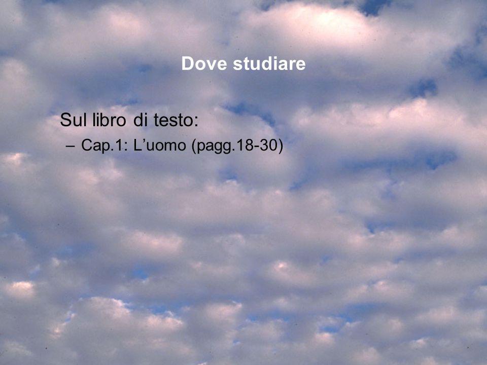 Dove studiare Sul libro di testo: –Cap.1: Luomo (pagg.18-30)