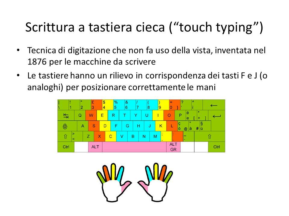 Scrittura a tastiera cieca (touch typing) Tecnica di digitazione che non fa uso della vista, inventata nel 1876 per le macchine da scrivere Le tastier