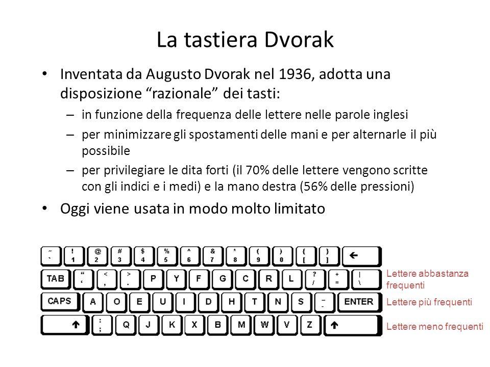 La tastiera Dvorak Inventata da Augusto Dvorak nel 1936, adotta una disposizione razionale dei tasti: – in funzione della frequenza delle lettere nell