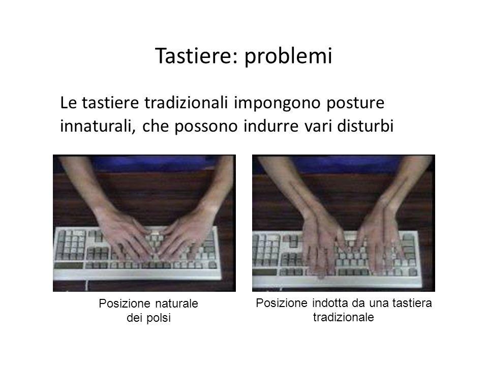 Tastiere: problemi Le tastiere tradizionali impongono posture innaturali, che possono indurre vari disturbi Posizione naturale dei polsi Posizione ind
