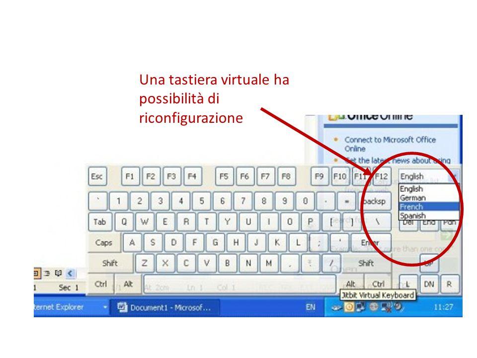 Una tastiera virtuale ha possibilità di riconfigurazione