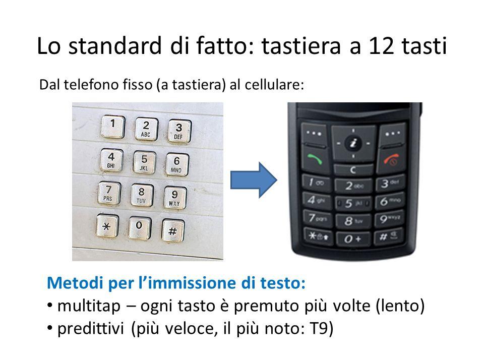 Lo standard di fatto: tastiera a 12 tasti Metodi per limmissione di testo: multitap – ogni tasto è premuto più volte (lento) predittivi (più veloce, i