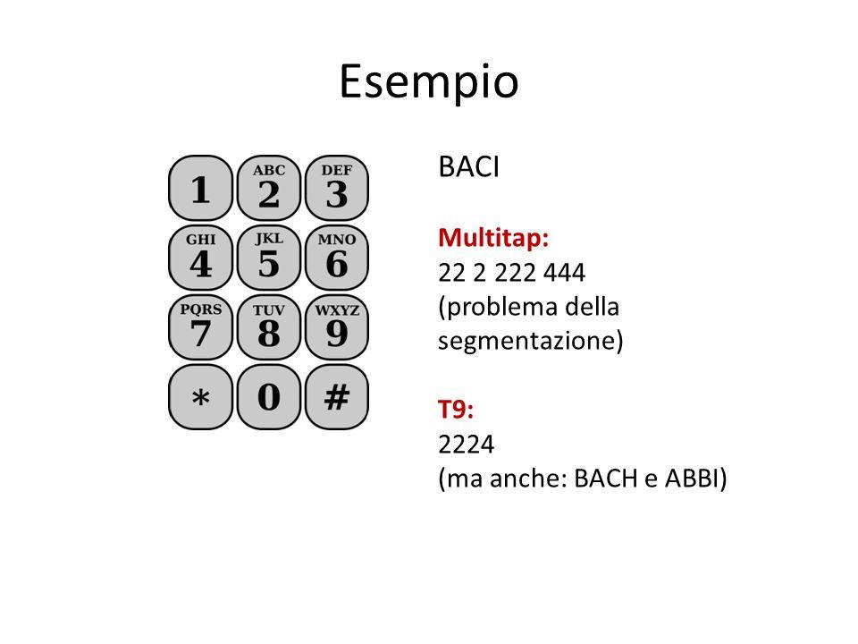Esempio BACI Multitap: 22 2 222 444 (problema della segmentazione) T9: 2224 (ma anche: BACH e ABBI)