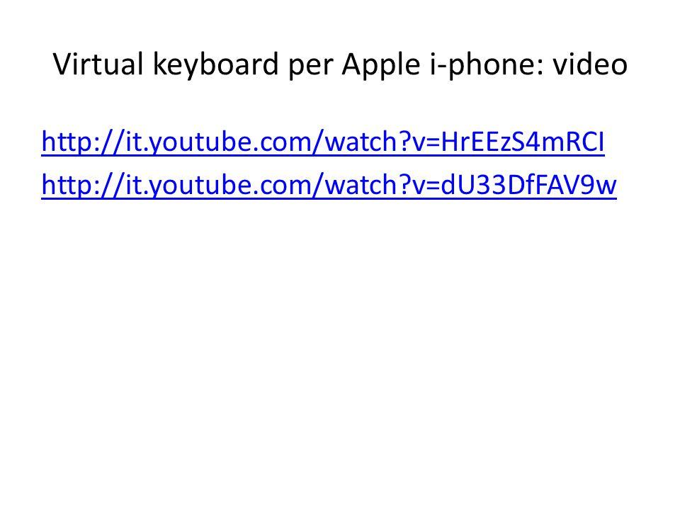 Virtual keyboard per Apple i-phone: video http://it.youtube.com/watch?v=HrEEzS4mRCI http://it.youtube.com/watch?v=dU33DfFAV9w