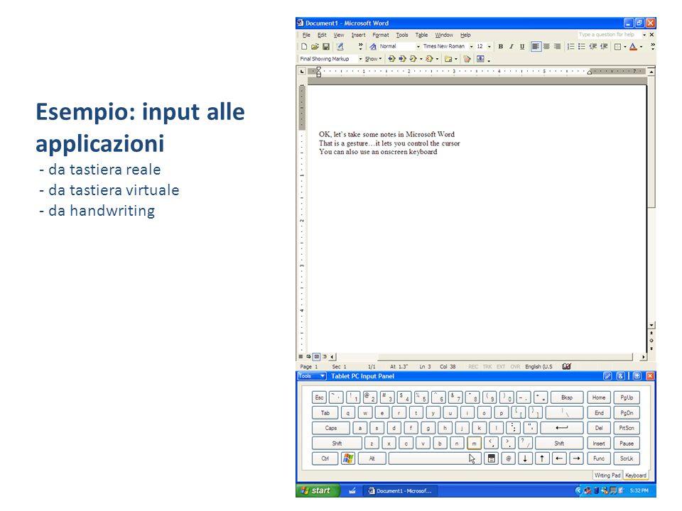 Esempio: input alle applicazioni - da tastiera reale - da tastiera virtuale - da handwriting