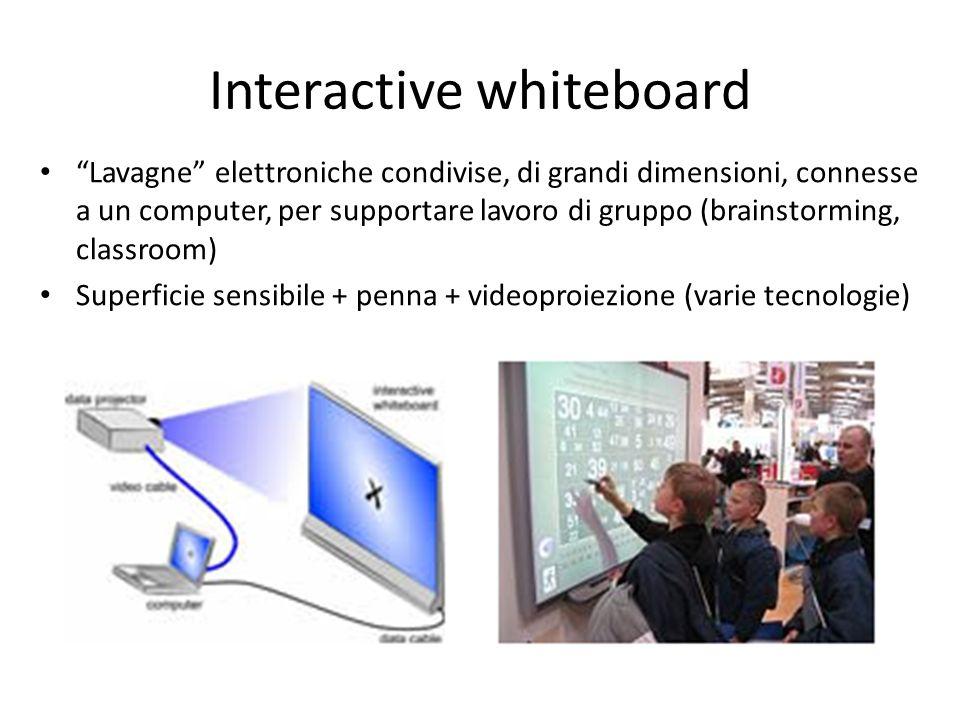 Interactive whiteboard Lavagne elettroniche condivise, di grandi dimensioni, connesse a un computer, per supportare lavoro di gruppo (brainstorming, c