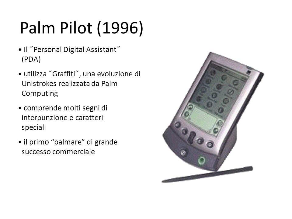 Palm Pilot (1996) Il ˝Personal Digital Assistant˝ (PDA) utilizza ˝Graffiti˝, una evoluzione di Unistrokes realizzata da Palm Computing comprende molti