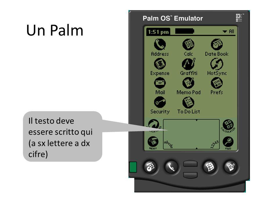 Un Palm Il testo deve essere scritto qui (a sx lettere a dx cifre)