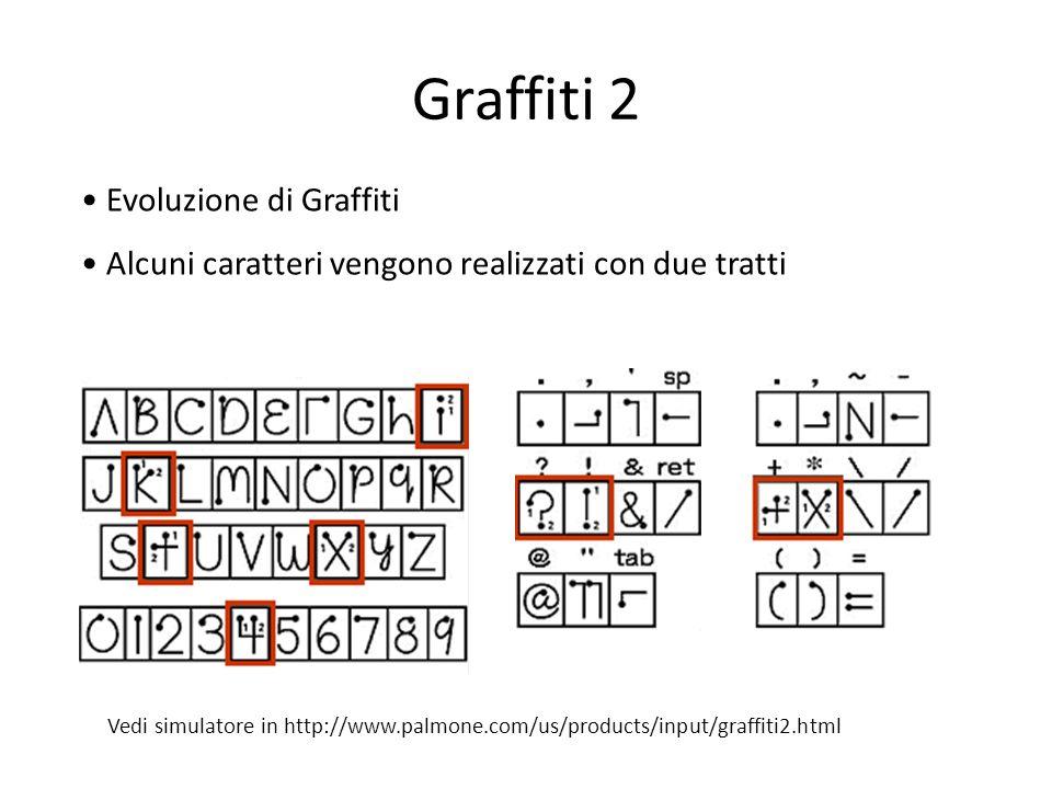Graffiti 2 Evoluzione di Graffiti Alcuni caratteri vengono realizzati con due tratti Vedi simulatore in http://www.palmone.com/us/products/input/graff
