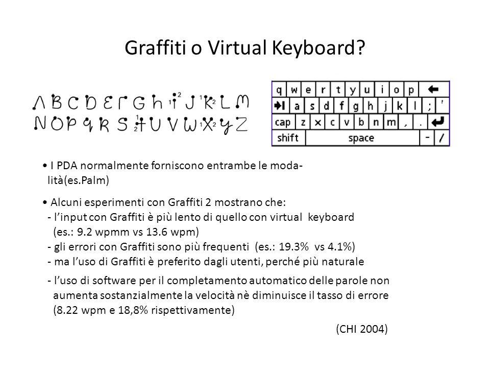 Graffiti o Virtual Keyboard? I PDA normalmente forniscono entrambe le moda- lità(es.Palm) Alcuni esperimenti con Graffiti 2 mostrano che: - linput con