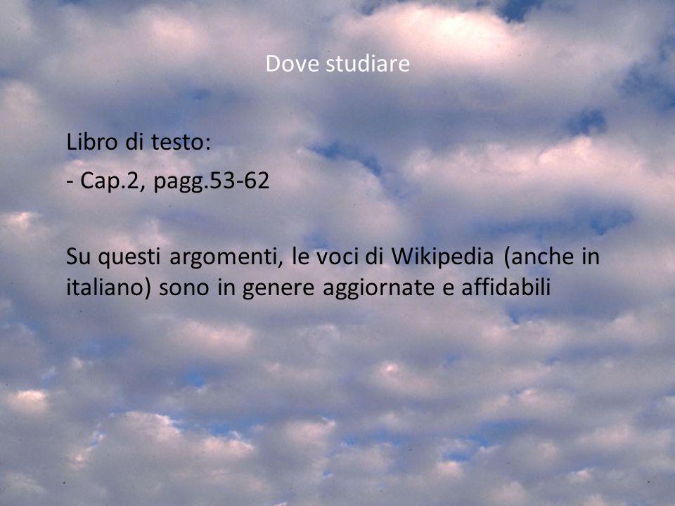 Dove studiare Libro di testo: - Cap.2, pagg.53-62 Su questi argomenti, le voci di Wikipedia (anche in italiano) sono in genere aggiornate e affidabili