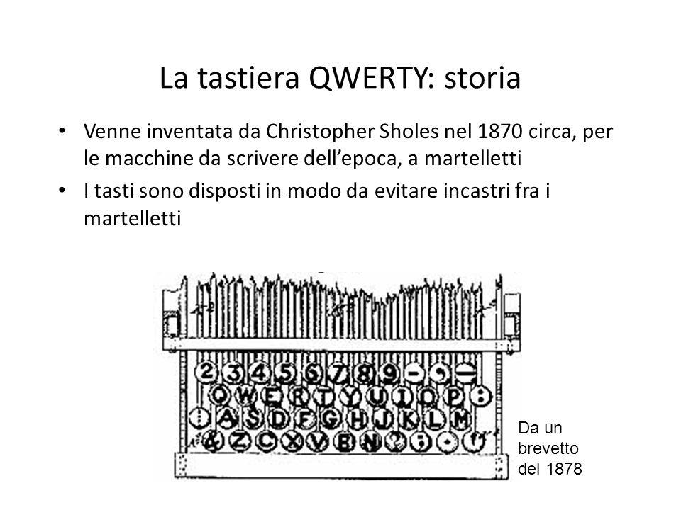 La tastiera QWERTY: storia Venne inventata da Christopher Sholes nel 1870 circa, per le macchine da scrivere dellepoca, a martelletti I tasti sono dis