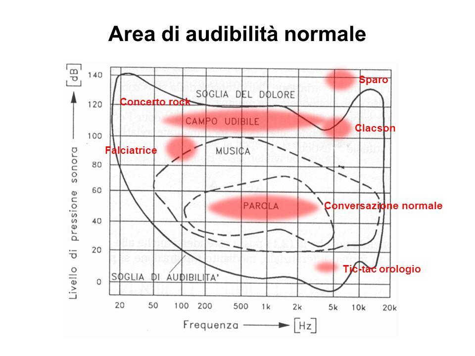 Area di audibilità normale Conversazione normale Tic-tac orologio Clacson Concerto rock Sparo Falciatrice