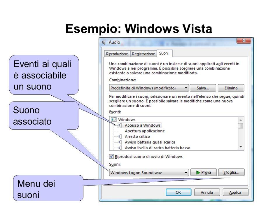 Esempio: Windows Vista Eventi ai quali è associabile un suono Suono associato Menu dei suoni