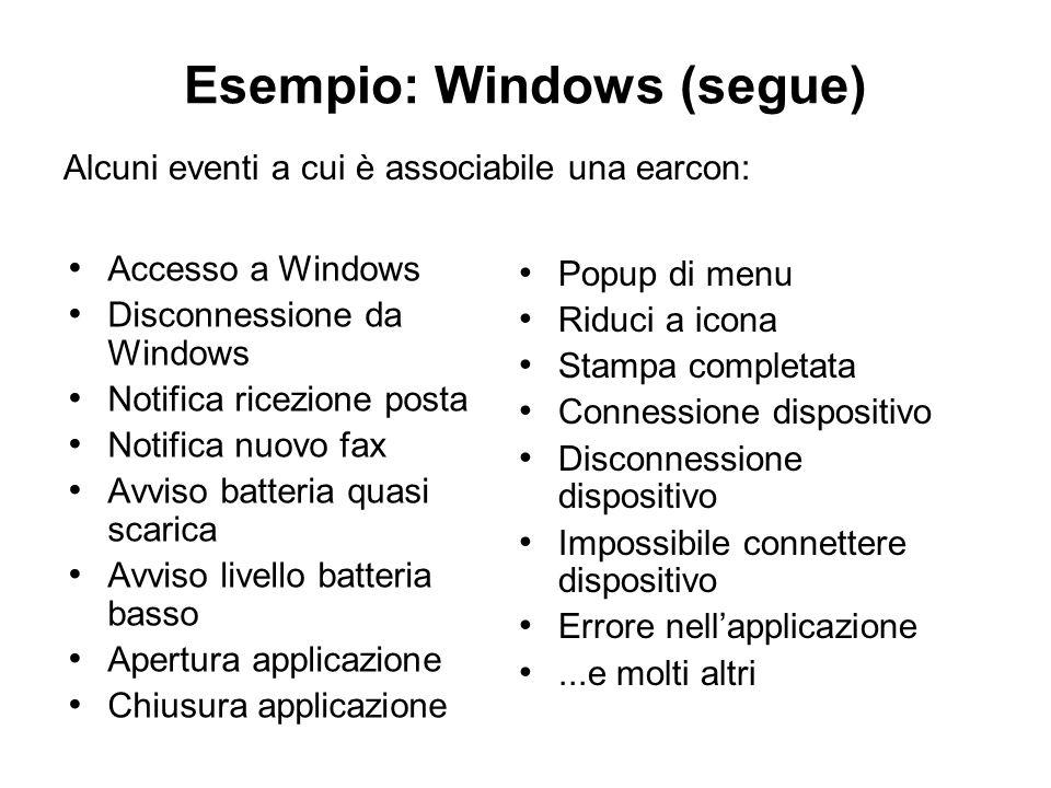 Accesso a Windows Disconnessione da Windows Notifica ricezione posta Notifica nuovo fax Avviso batteria quasi scarica Avviso livello batteria basso Ap