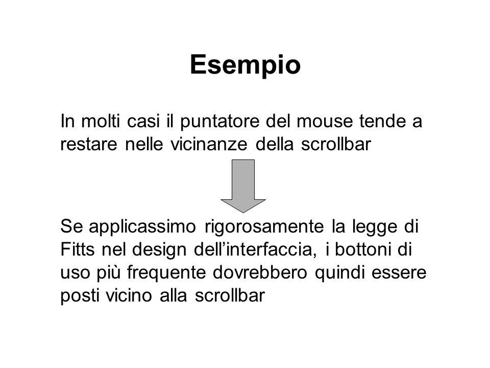 Esempio In molti casi il puntatore del mouse tende a restare nelle vicinanze della scrollbar Se applicassimo rigorosamente la legge di Fitts nel desig