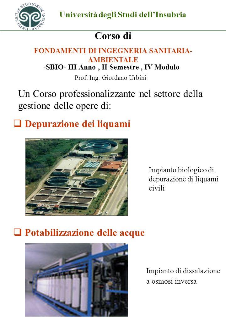 Università degli Studi dellInsubria Corso di FONDAMENTI DI INGEGNERIA SANITARIA- AMBIENTALE Depurazione dei liquami Potabilizzazione delle acque Prof.