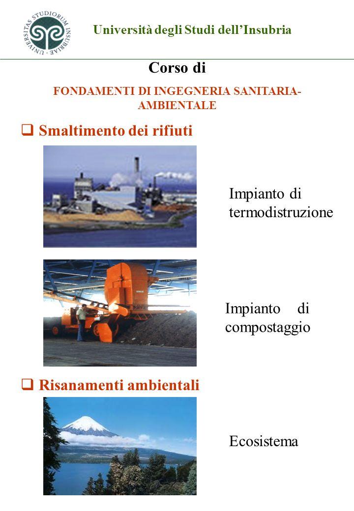 Università degli Studi dellInsubria Corso di FONDAMENTI DI INGEGNERIA SANITARIA- AMBIENTALE Smaltimento dei rifiuti Risanamenti ambientali Impianto di