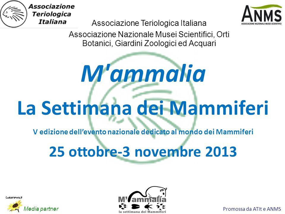 Promossa da ATIt e ANMS M'ammalia La Settimana dei Mammiferi V edizione dellevento nazionale dedicato al mondo dei Mammiferi 25 ottobre-3 novembre 201