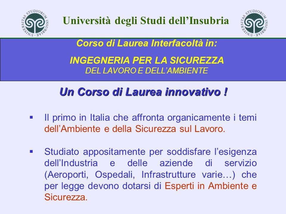 Università degli Studi dellInsubria Corso di Laurea Interfacoltà in: INGEGNERIA PER LA SICUREZZA DEL LAVORO E DELLAMBIENTE Un Corso di Laurea innovati
