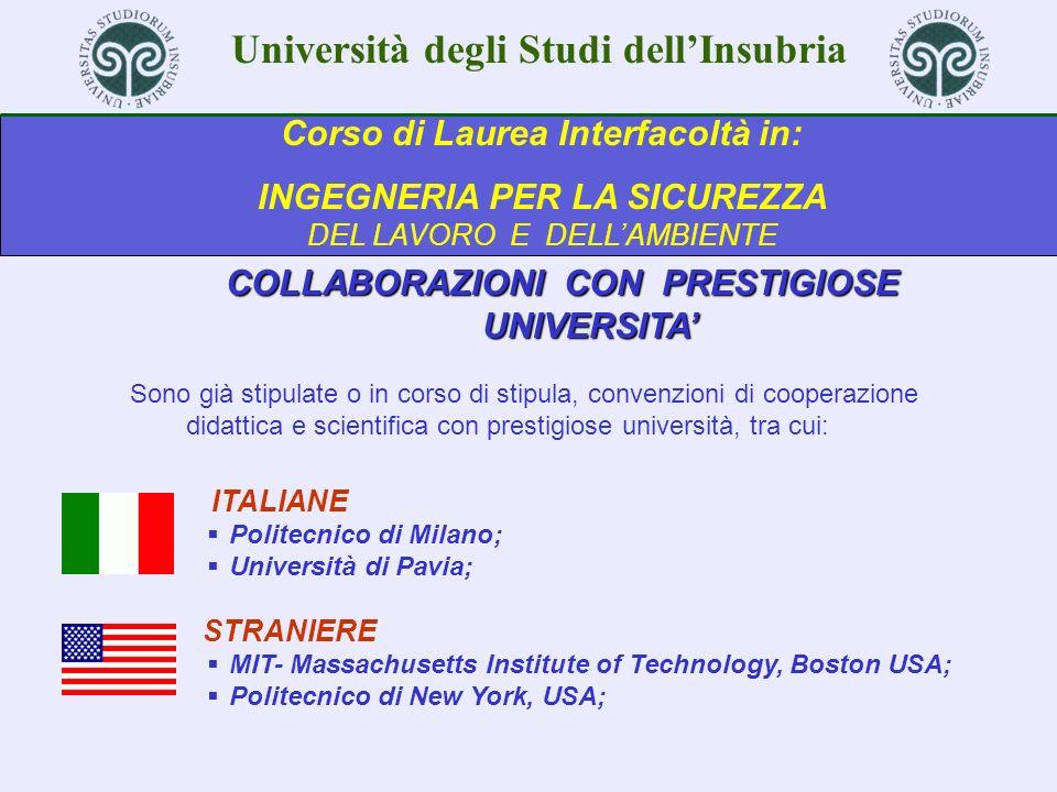 Università degli Studi dellInsubria Corso di Laurea Interfacoltà in: INGEGNERIA PER LA SICUREZZA DEL LAVORO E DELLAMBIENTE TI ASPETTIAMO .