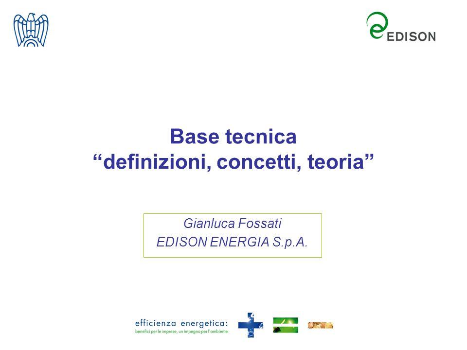 Base tecnica definizioni, concetti, teoria Gianluca Fossati EDISON ENERGIA S.p.A.