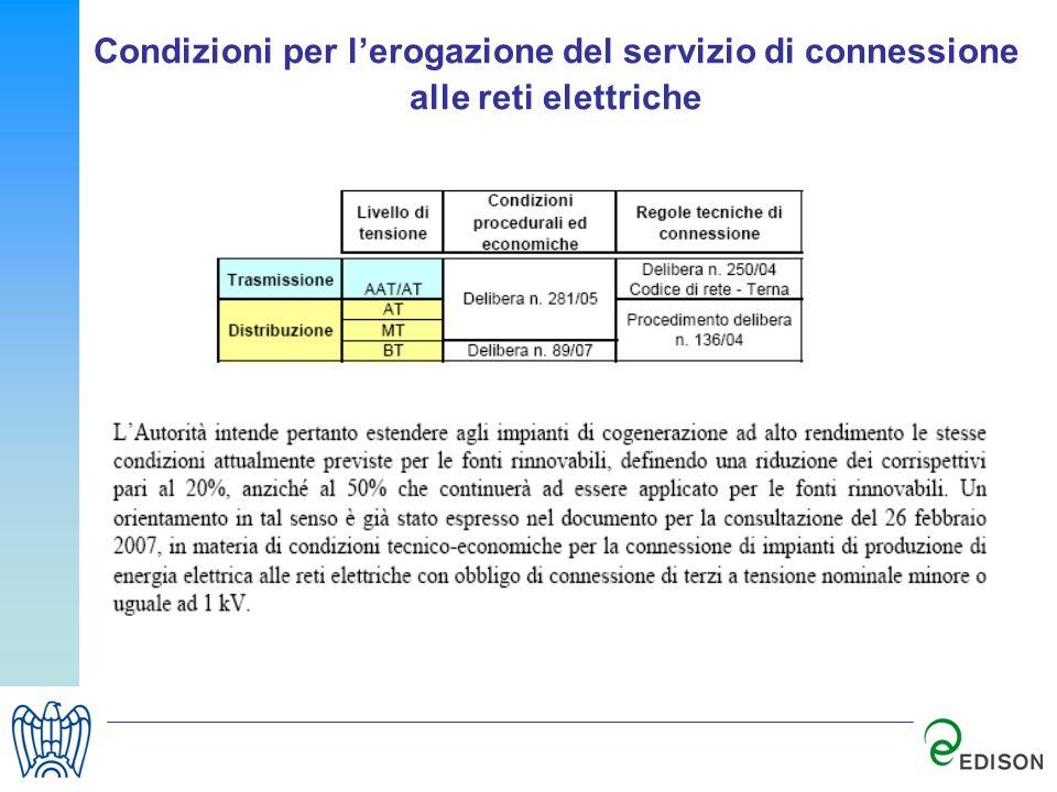 Condizioni per lerogazione del servizio di connessione alle reti elettriche
