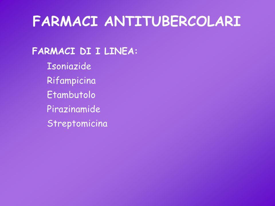 FARMACI ANTITUBERCOLARI Isoniazide Rifampicina Etambutolo Pirazinamide Streptomicina FARMACI DI I LINEA:
