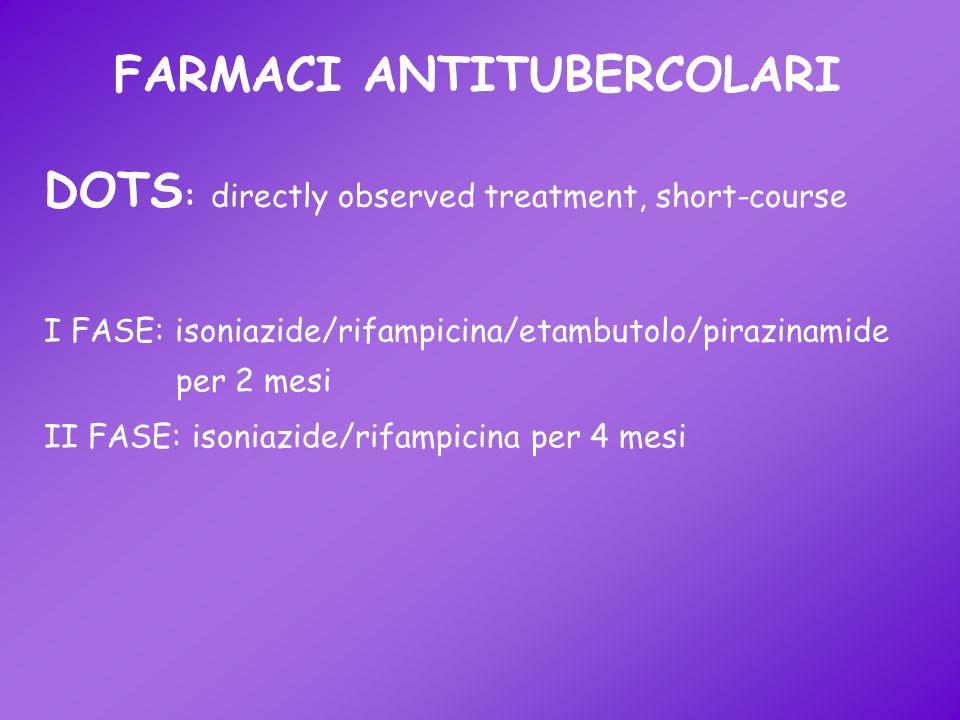 FARMACI ANTITUBERCOLARI I FASE: isoniazide/rifampicina/etambutolo/pirazinamide per 2 mesi DOTS : directly observed treatment, short-course II FASE: is