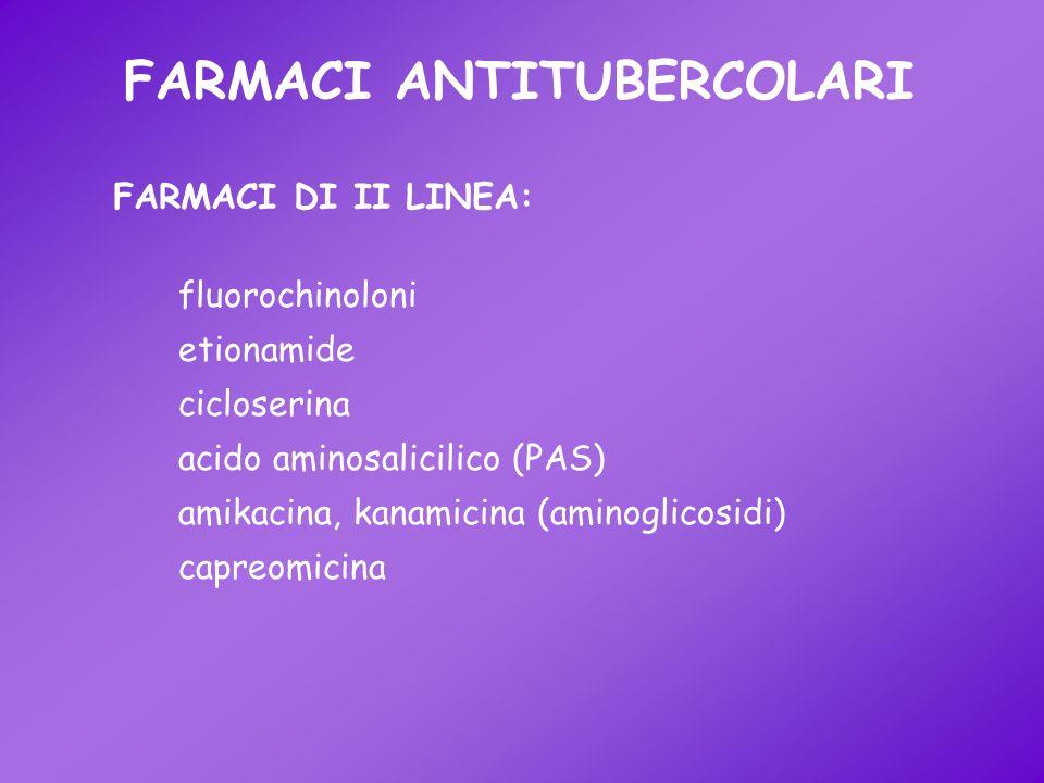 FARMACI ANTITUBERCOLARI fluorochinoloni etionamide cicloserina acido aminosalicilico (PAS) amikacina, kanamicina (aminoglicosidi) capreomicina FARMACI