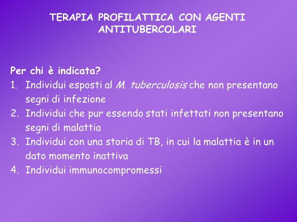 TERAPIA PROFILATTICA CON AGENTI ANTITUBERCOLARI Per chi è indicata? 1.Individui esposti al M. tuberculosis che non presentano segni di infezione 2.Ind