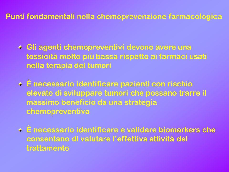 Punti fondamentali nella chemoprevenzione farmacologica Gli agenti chemopreventivi devono avere una tossicità molto più bassa rispetto ai farmaci usat