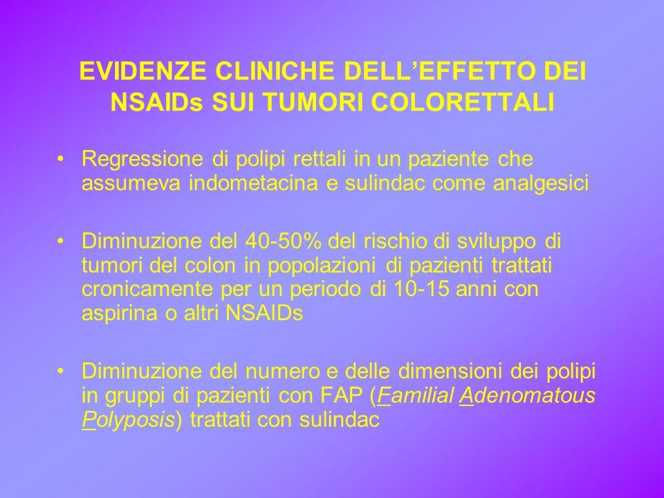 EVIDENZE CLINICHE DELLEFFETTO DEI NSAIDs SUI TUMORI COLORETTALI Regressione di polipi rettali in un paziente che assumeva indometacina e sulindac come