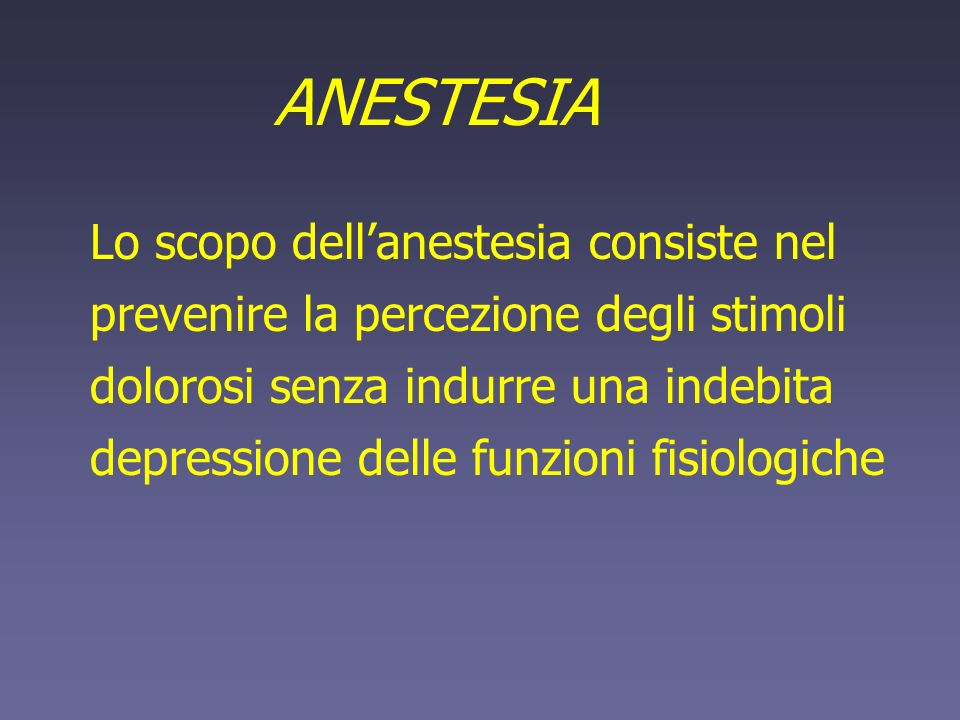 ANESTESIA dellanimale a) Medicazione pre-anestetica dellanimale Somministrazione di farmaci prima dellanestesia (10) induzione + rapida e sicura