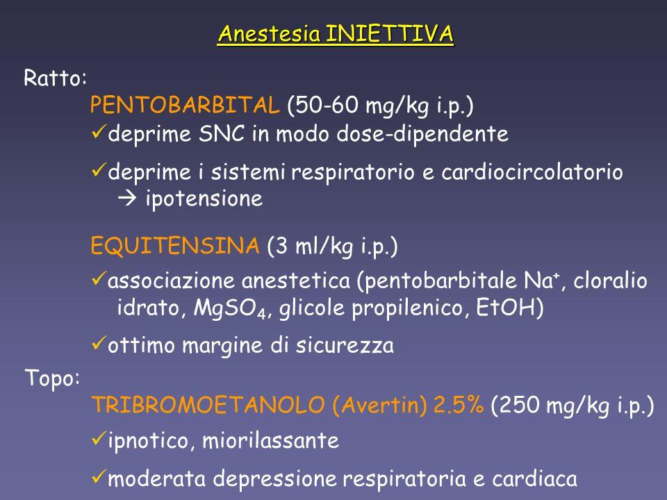 Anestesia INALATORIA anestetici - tossici, + facilmente smaltibili dallorganismo risveglio più rapido dellanimale anestesia + controllata equipaggiamento adeguato monitoraggio costante dellanimale anestetici: esplosivi, infiammabili e irritanti esposizione cronica rischio per loperatore ISOFLURANO (5% 1.5 - 2%) ETERE DIETILICO