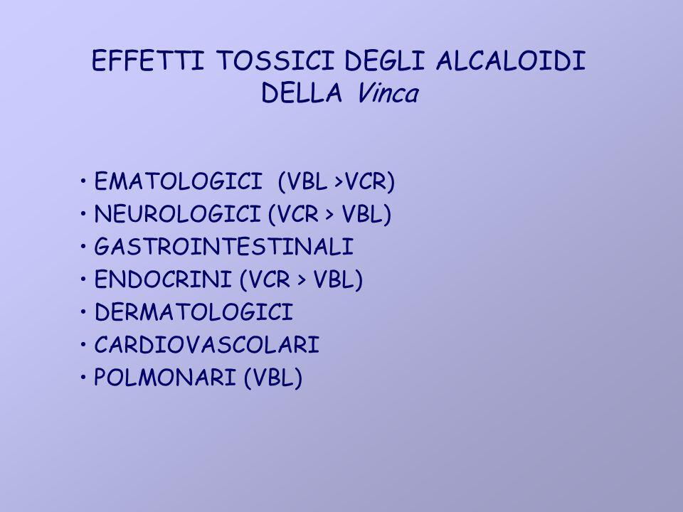 EFFETTI TOSSICI DEGLI ALCALOIDI DELLA Vinca EMATOLOGICI (VBL >VCR) NEUROLOGICI (VCR > VBL) GASTROINTESTINALI ENDOCRINI (VCR > VBL) DERMATOLOGICI CARDI